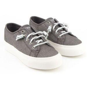 Sperry   Sky Sail Gray Metallic Twill Sneaker 10